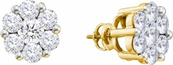 10KT Yellow Gold 0.50CTW DIAMOND FLOWER EARRINGS - Earrings