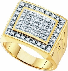 10KT Yellow Gold 0.50CTW DIAMOND  MENS CLUSTER  RING - Rings