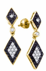 10KT Yellow Gold 0.64CTWBLACK DIAMOND FASHION EARRINGS - Earrings