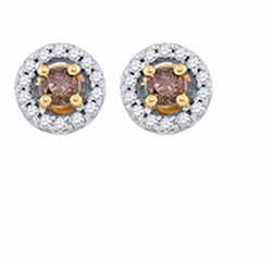 10KT Yellow Gold 0.72CTW-DIA MICRO-PAVE EARRINGS - Earrings