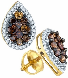 10KT Yellow Gold 0.99CTW COGNAC DIAMOND MICRO PAVE EARRINGS - Earrings