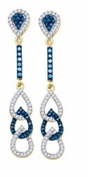 10KT Yellow Gold 1.00CTW BLUE DIAMOND FASHION EARRINGS - Earrings