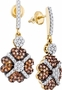 10KT Yellow Gold 1.05CTW-DIA COGNAC DIAMOND EARRINGS - Earrings