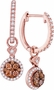 14K Rose Gold 0.52 Ctw Diamond Fashion Dangle Earrings 2.51g - Earrings