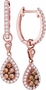 14K Rose Gold 0.53 Ctw Diamond Fashion Dangle Earrings 2.46g - Earrings