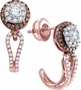 14K Rose Gold 0.73 Ctw Diamond Fashion Hoop Earrings 2.97g - Earrings