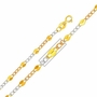 "14K Tri-Color Gold 3.2mm Stamped Figaro Chain Necklace with Spring Clasp (Length: 24"")"