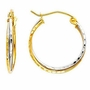 14k Two Tone Gold 3mm Hoop Elegant Earrings (Diameter: 17mm) - Earrings