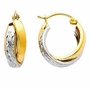 14k Two Tone Gold 7mm Double Hoop Elegant Earrings (Diameter: 15mm) - Earrings