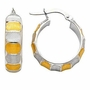 14k Two Tone Gold Ribbed Hoop Earrings (Diameter: 20mm) - Earrings