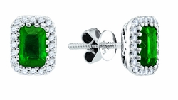 14K White Gold 0.20 Ctw Diamond 1.05 Ctw Emerald Stud Earrings 1.36g - Earrings
