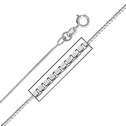 """14K White Gold 0.8 mm Box Link Chain Necklace (Length: 18""""; Weight: 1.3 grams approx)"""