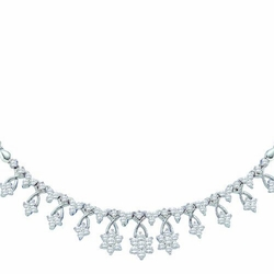 14k White Gold 2.00Ct-Dia Flower Necklace
