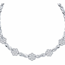 14k White Gold 2.0Ct-Dia Flower Necklace