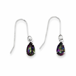 14k White Gold Mystic Topaz Pear Faceted Baby Earrings