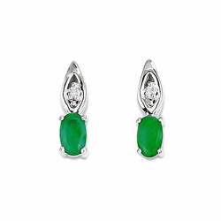 14k White Gold Oval Cut Emerald and Diamond Drop Earrings