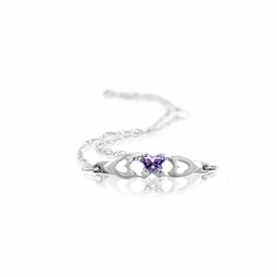 14k White Gold Violet Synthetic Cubic Zirconia Kid'S Butterfly Heart Bracelet