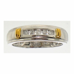 14k White Two Tone 0.25Ctw Round Diamond Mens Fashion Wedding Ring Band - Ring
