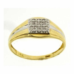 14k Yellow Gold 0.12Ctw Round Diamond Mens Cluster Ring - Ring