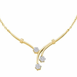 14k Yellow Gold 0.25Ct-Dia Flower Necklace