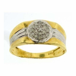 14k Yellow Gold 0.25Ctw Diamond Mens Cluster Ring - Ring
