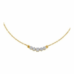 14k Yellow Gold 0.50Ctw Diamond Flower Necklace