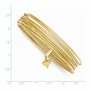 14k Yellow Gold 1.0mm Wide Plain Polished and Textured Bangle Bracelet - Size: 7