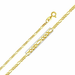 """14K Yellow Gold 1.6 mm Figaro Chain Necklace with Spring Clasp (Length: 14""""; Weight: 1.4 grams approx)"""