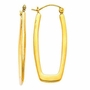 14k Yellow Gold 2.5mm Designer Flat Rectangular Earrings (30mm x 15mm) - Earrings