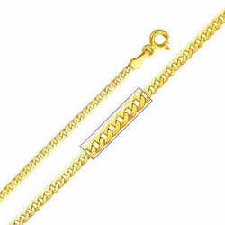 "14K Yellow Gold 2mm Concave Curb Chain Necklace with Spring Clasp (Length: 16"";  Weight: 2.8 grams approx)"