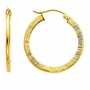 14k Yellow Gold 2mm Diamond-Cut Hoop Elegant Earrings (Diameter: 25mm) - Earrings