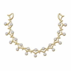 14k Yellow Gold 3.50Ct-Dia Flower Necklace