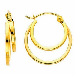 14k Yellow Gold 4mm Double Hoop Elegant Earrings (Diameter: 16mm) - Earrings