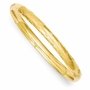 14k Yellow Gold 7mm Wide Polished, Satin and Hollow Bangle Bracelet - Size: 7
