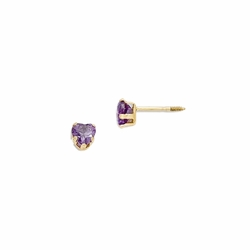 14k Yellow Gold Amethyst Heart Drop Earrings