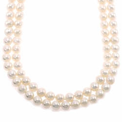 14k Yellow Gold Double Strand Cultured Pearl Pendant Necklace Chain (6.00mm -6.50mm)