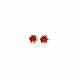 14k Yellow Gold Garnet Round 5 Prong Stud Earrings