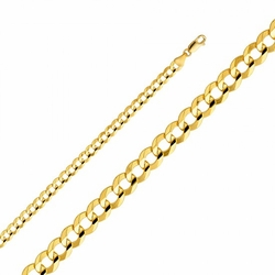 "14k Yellow Gold Hollow Men's 4 mm Cuban Curb Chain Necklace with Lobster Claw Clasp 20"" - 14k Yellow Gold Hollow Men's 4.2mm Cuban Curb Chain Necklace with Lobster Claw Clasp 20"""