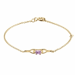 14k Yellow Gold Violet Synthetic Cubic Zirconia Child'S Heart Faceted Butterfly Bracelet