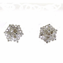 14KT White Gold 0.11CTW ROUND BAGGUETTE DIAMOND LADIES FASHION CLUSTER EARRINGS - Earrings