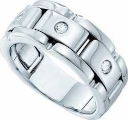 14KT White Gold 0.16CTW DIAMOND MENS FASHION BAND - Rings