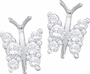 14KT White Gold 0.25CTW DIAMOND BUTTERFLY EARRINGS - Earrings