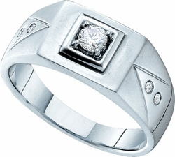 14KT White Gold 0.25CTW DIAMOND MENS CLUSTER BAND WITH 0.20CT ROUND CENTER - Rings