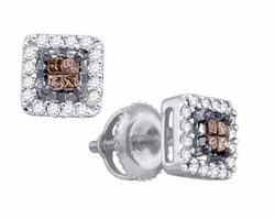 14KT White Gold 0.30CTW COGNAC DIAMOND  INVISIBLE EARRINGS - Earrings