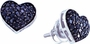14KT White Gold 0.41CTW BLACK DIAMOND HEART EARRINGS - Earrings