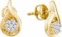 14KT Yellow Gold 0.15CTW DIAMOND FLOWER EARRINGS - Earrings