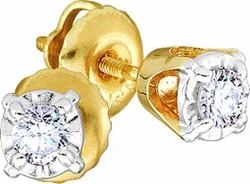 14KT Yellow Gold 0.15CTW ROUND DIAMOND LADIES FASHION CLUSTER EARRINGS - Earrings