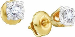 14KT Yellow Gold 0.20CTW ROUND DIAMOND LADIES FASHION EARRINGS (STUDS) - Earrings