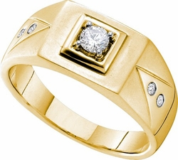 14KT Yellow Gold 0.25CTW DIAMOND CLUSTER MENS BAND - Rings