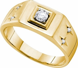 14KT Yellow Gold 0.25CTW DIAMOND FASHION MENS RING - Rings